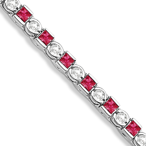 Princess Cut Ruby & Round Diamond Tennis Bracelet 14k W. Gold 1.60ct