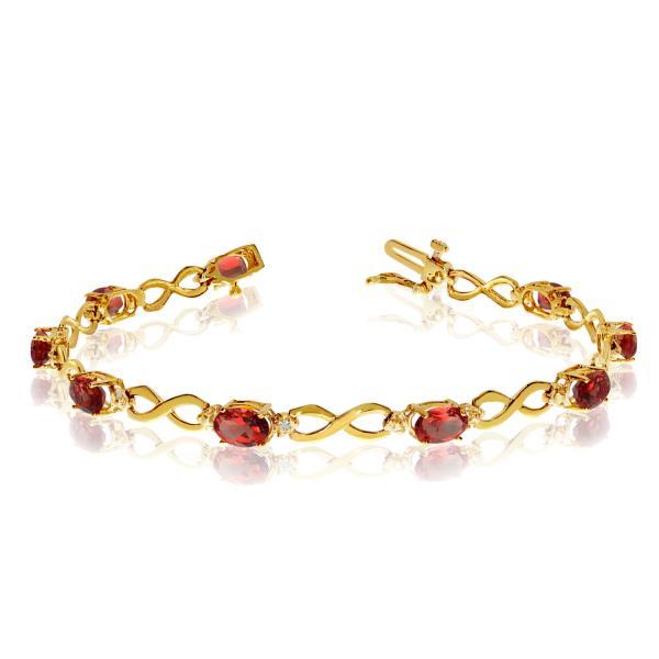 Oval Garnet and Diamond Infinity Bracelet in 14k Yellow Gold (4.53ct)