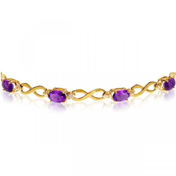 Oval Amethyst & Diamond Infinity Bracelet in 14k Yellow Gold (4.53ct)