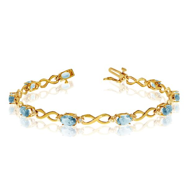 Oval Aquamarine & Diamond Infinity Bracelet in 14k Yellow Gold 4.53ct