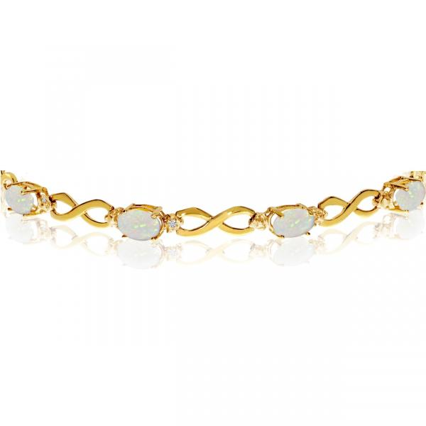 Oval Cut Opal & Diamond Infinity Bracelet in 14k Yellow Gold (4.53ct)