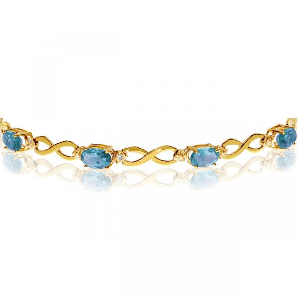 Oval Blue Topaz & Diamond Infinity Bracelet 14k Yellow Gold (4.53ct)
