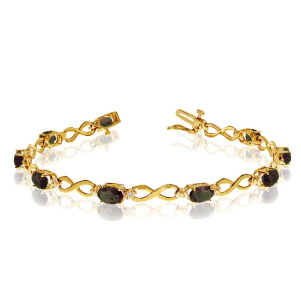 Oval Mystic Topaz & Diamond Infinity Bracelet 14k Yellow Gold 4.53ct