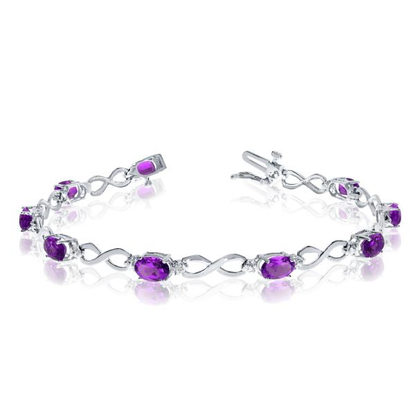 Oval Amethyst & Diamond Infinity Bracelet in 14k White Gold (4.53ct)