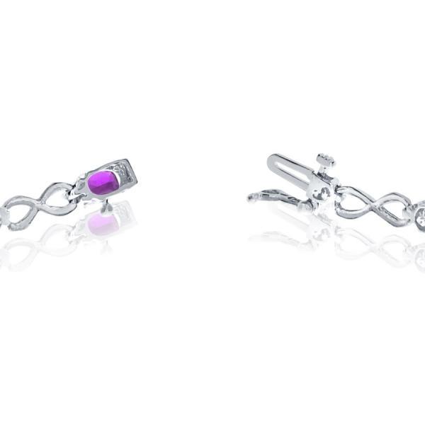 Oval Amethyst & Diamond Infinity Bracelet in 14k White Gold (4.53ct)