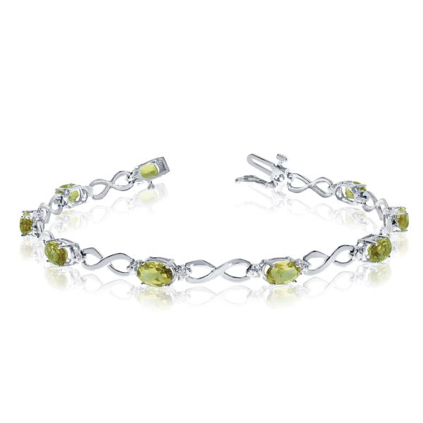 Oval Peridot & Diamond Infinity Bracelet in 14k White Gold (4.53ct)