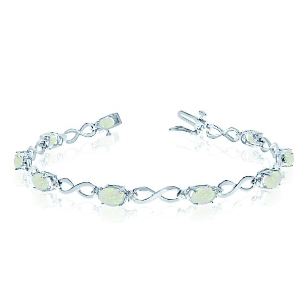 Oval Cut Opal & Diamond Infinity Bracelet in 14k White Gold (4.53ct)