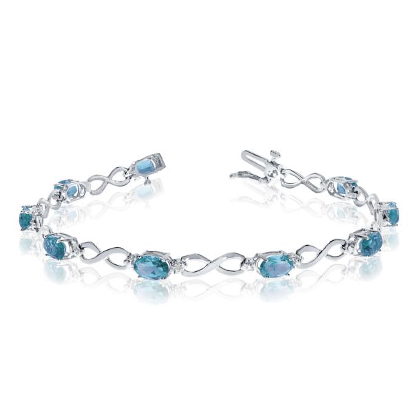 Oval Blue Topaz & Diamond Infinity Bracelet 14k White Gold (4.53ct)