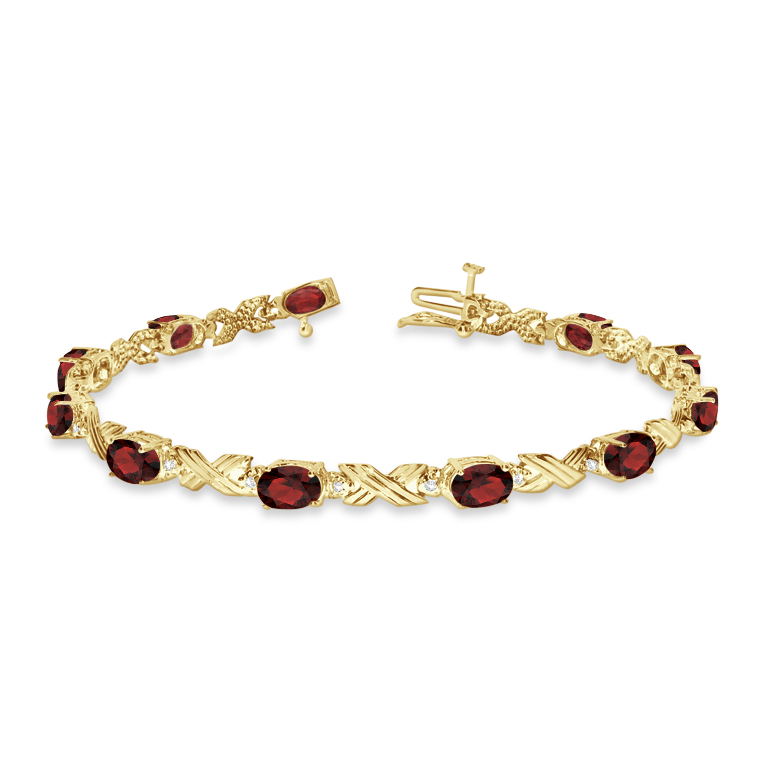 Garnet & Diamond XOXO Link Bracelet 14k Yellow Gold (6.65ct)