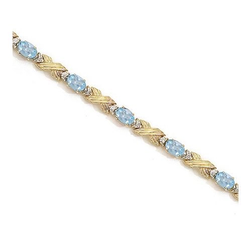 Aquamarine & Diamond XOXO Link Bracelet 14k Yellow Gold (6.65ct)