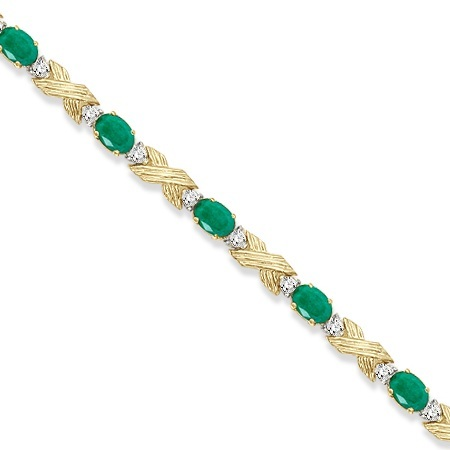 Emerald & Diamond XOXO Link Bracelet in 14k Yellow Gold (6.65ct)