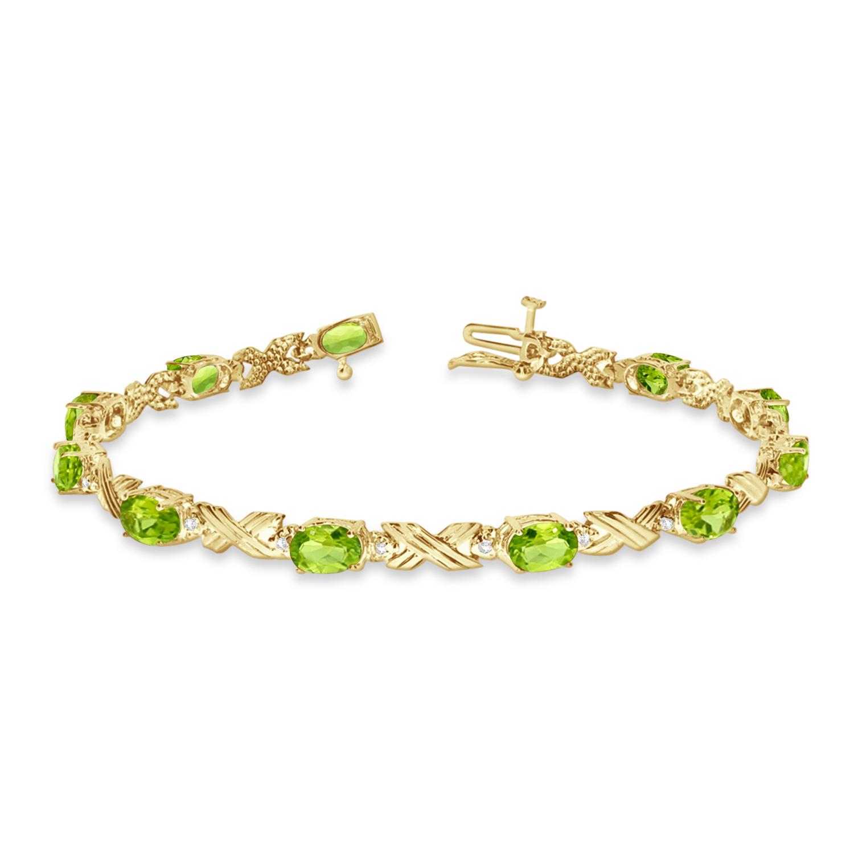 Peridot & Diamond XOXO Link Bracelet 14k Yellow Gold (6.65ct)