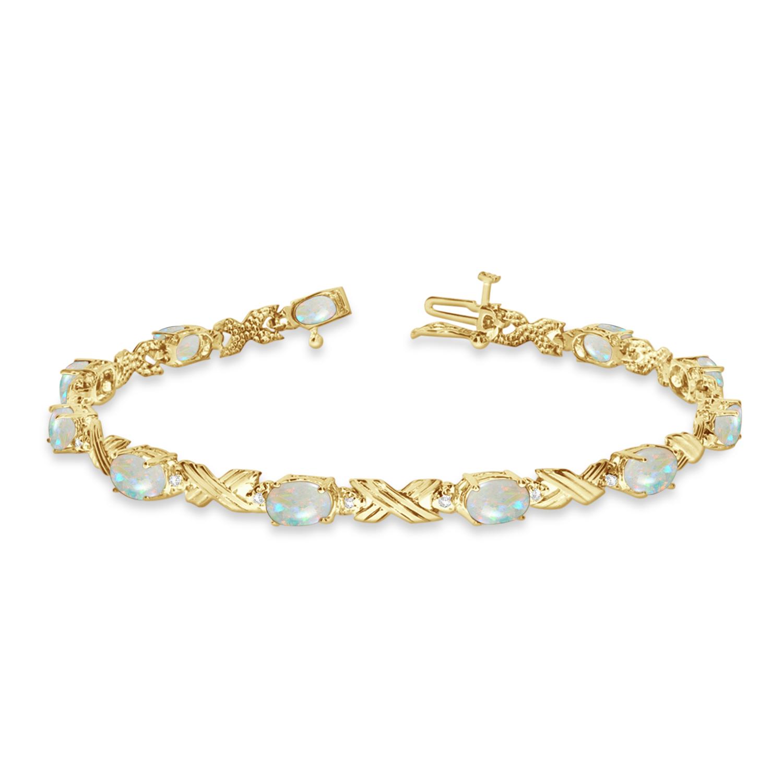 Opal & Diamond XOXO Link Bracelet 14k Yellow Gold (6.65ct)