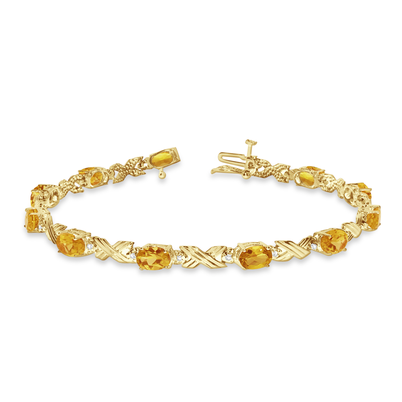 Citrine & Diamond XOXO Link Bracelet 14k Yellow Gold (6.65ct)