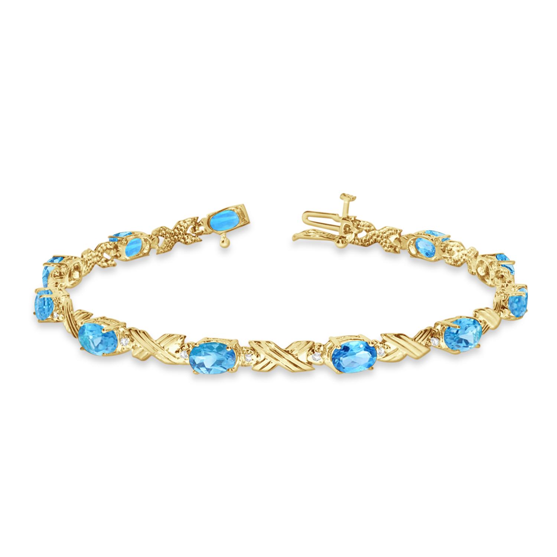 Blue Topaz & Diamond XOXO Link Bracelet 14k Yellow Gold (6.65ct)