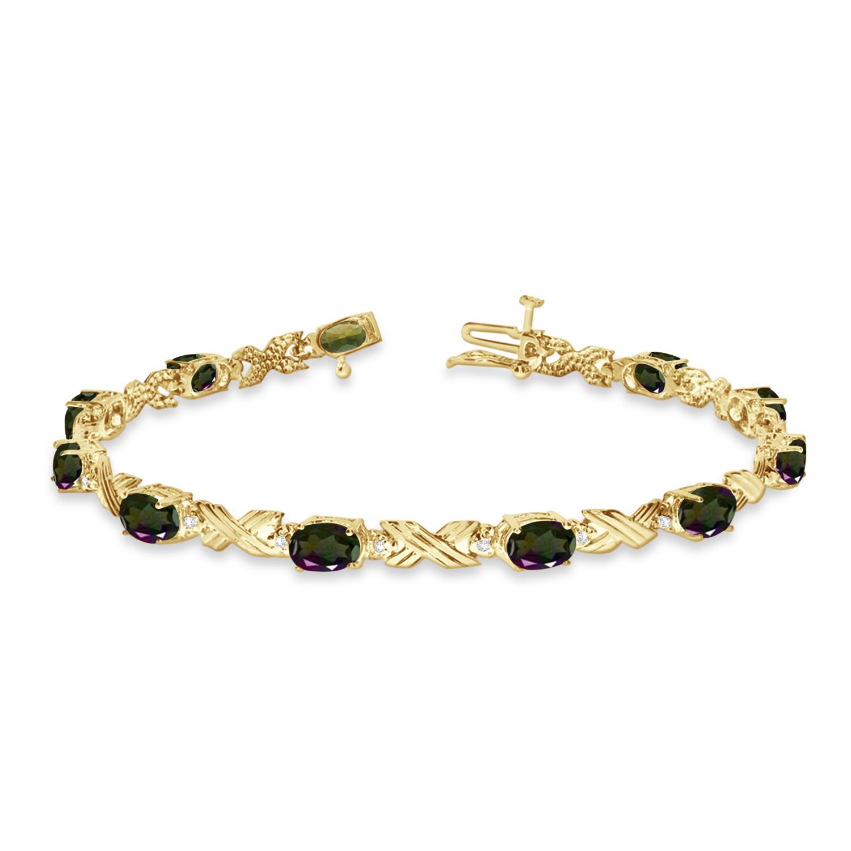 Xoxo Gold Bracelet: Mystic Topaz & Diamond XOXO Link Bracelet 14k Yellow Gold