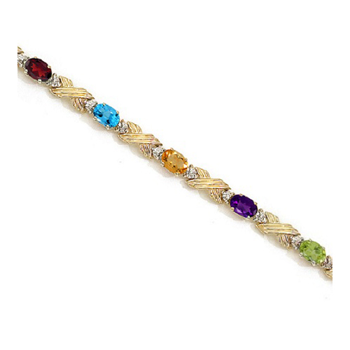 Xoxo Gold Bracelet: Diamond & Multi Gemstone XOXO Link Bracelet 14k Yellow