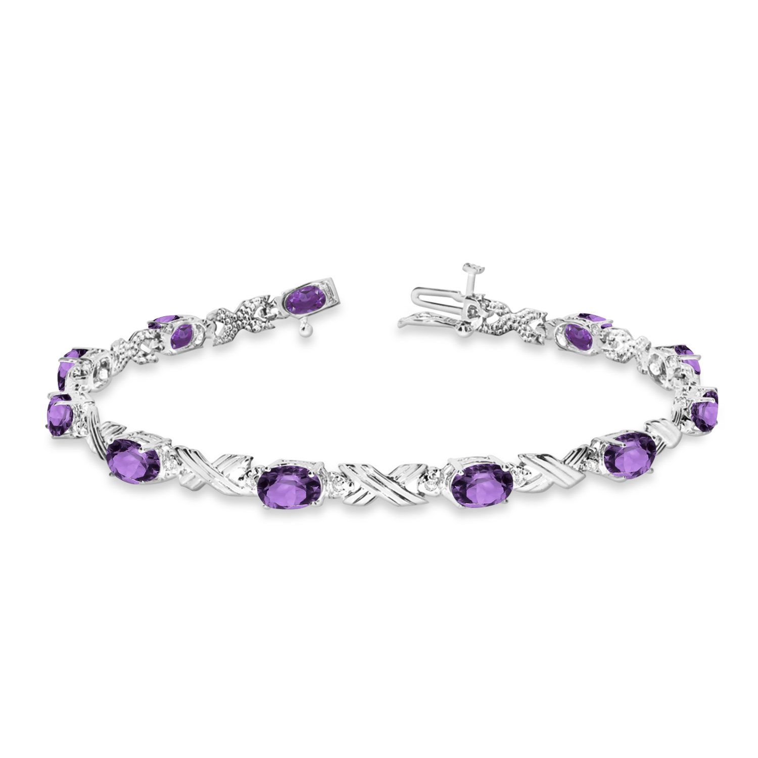 Amethyst & Diamond XOXO Link Bracelet in 14k White Gold (6.65ct)