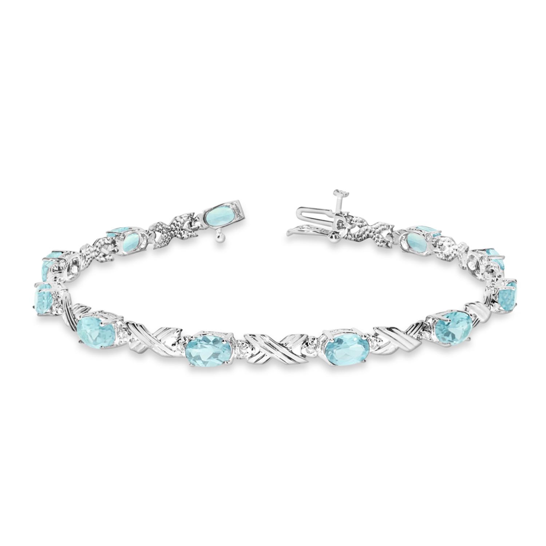 Aquamarine & Diamond XOXO Link Bracelet in 14k White Gold (6.65ct)