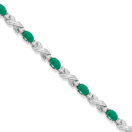 Emerald & Diamond XOXO Link Bracelet in 14k White Gold (6.65ct)