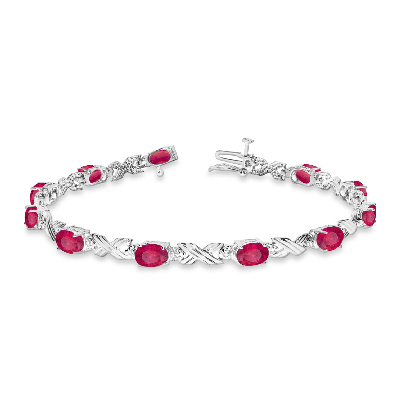 Ruby & Diamond XOXO Link Bracelet in 14k White Gold (6.65ct)