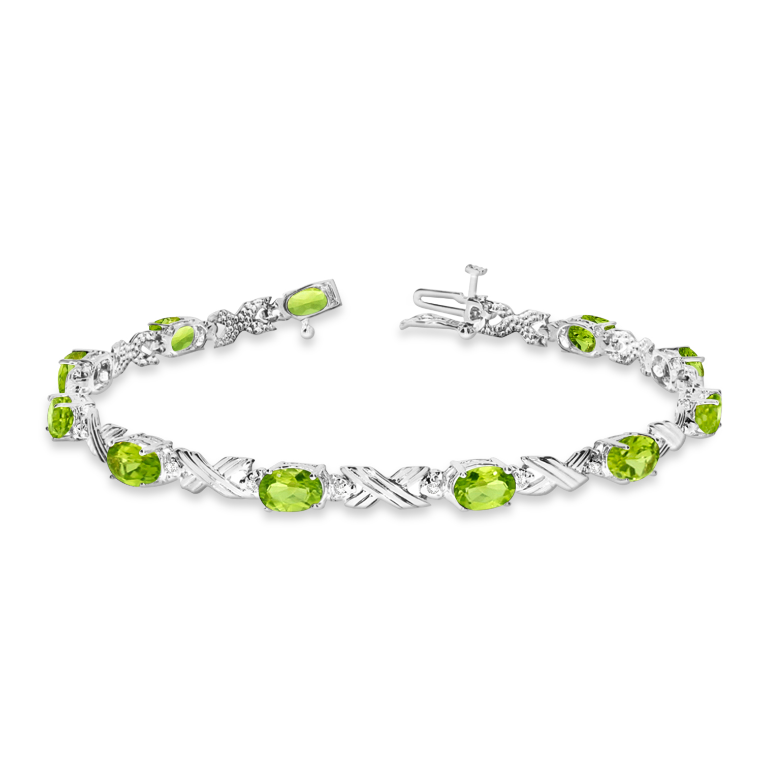 Peridot & Diamond XOXO Link Bracelet in 14k White Gold (6.65ct)