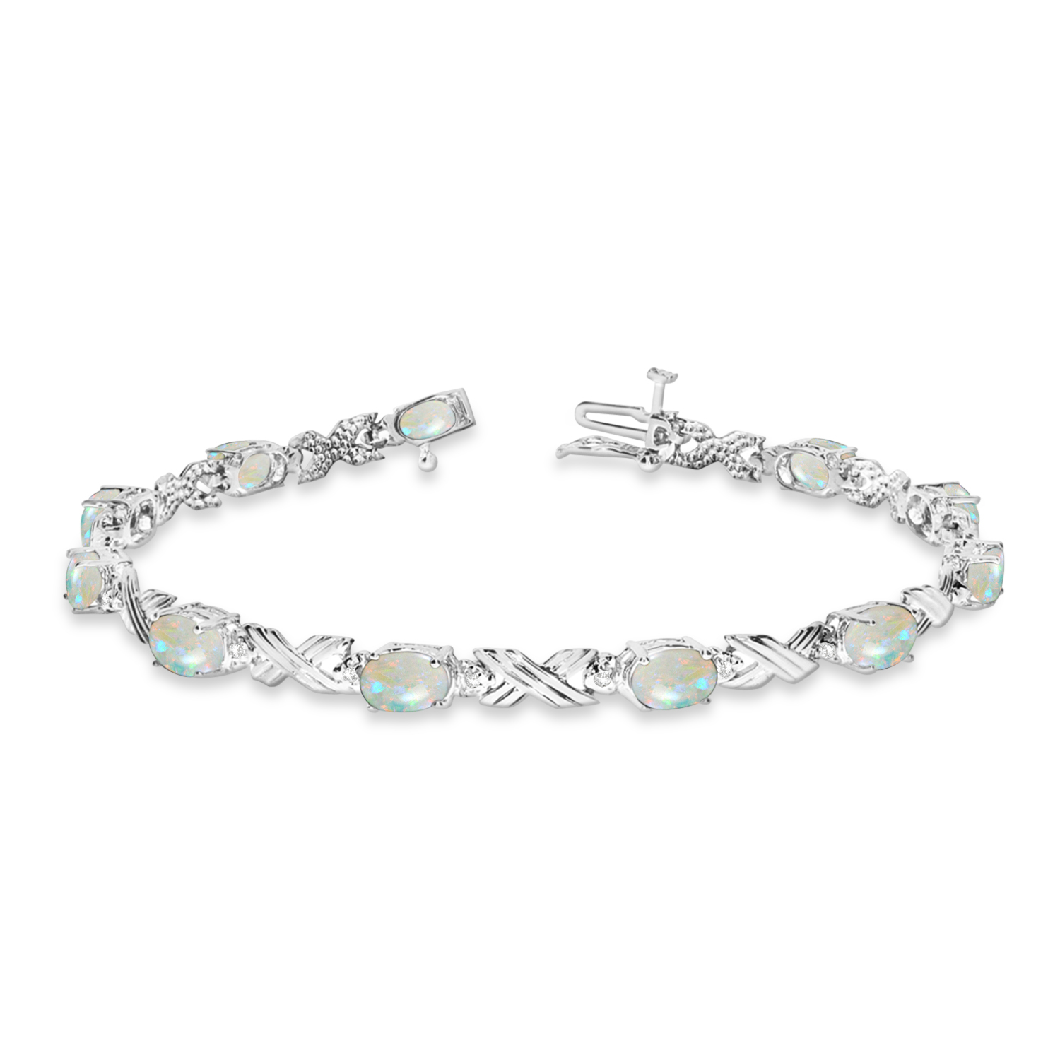 Opal & Diamond XOXO Link Bracelet in 14k White Gold (6.65ct)