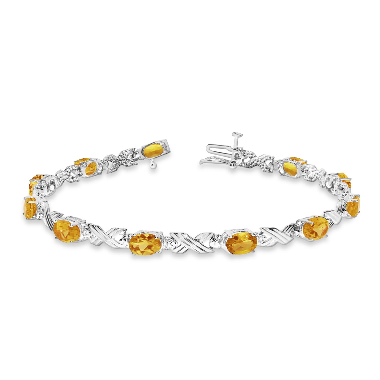 Citrine & Diamond XOXO Link Bracelet in 14k White Gold (6.65ct)
