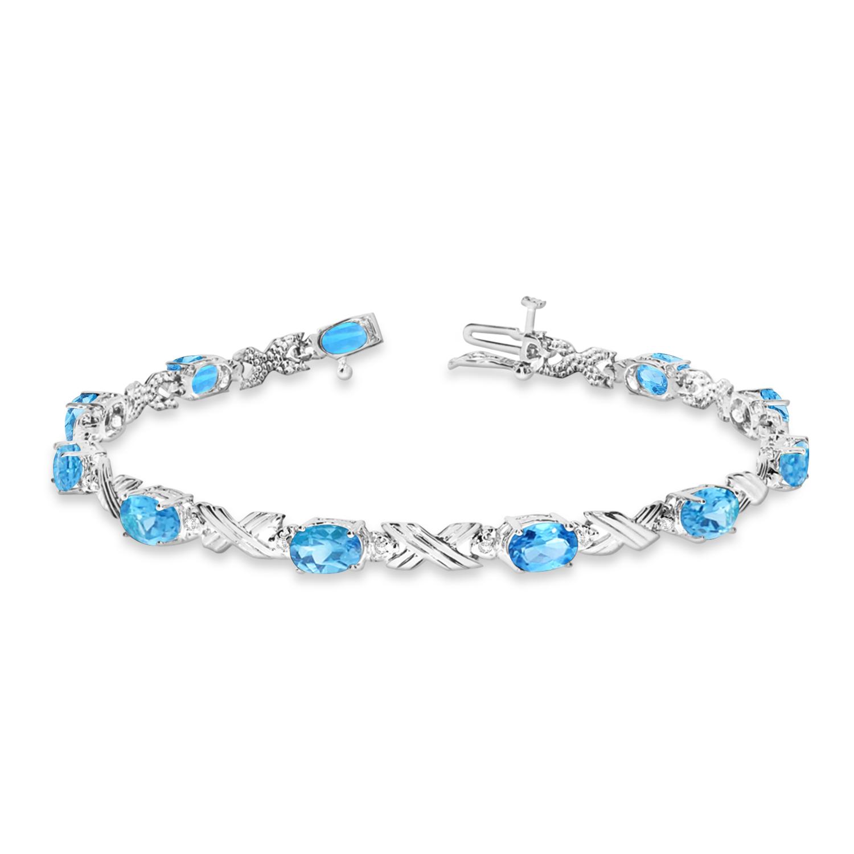 Blue Topaz & Diamond XOXO Link Bracelet in 14k White Gold (6.65ct)