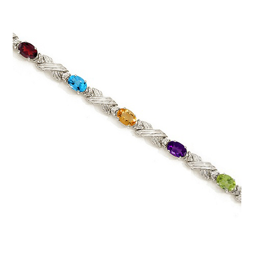 Diamond & Multi Gemstone XOXO Link Bracelet in 14k White Gold (6.65ct)