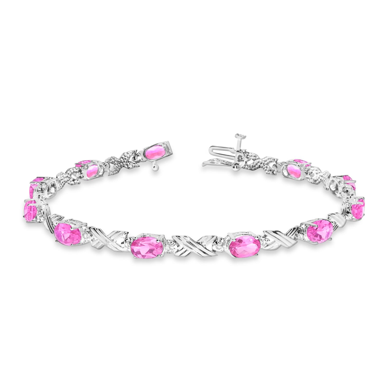 Pink Sapphire & Diamond XOXO Link Bracelet in 14k White Gold (6.65ct)