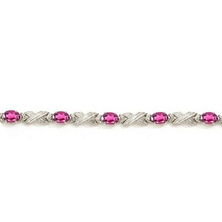 Pink Topaz & Diamond XOXO Link Bracelet in 14k White Gold (6.65ct)