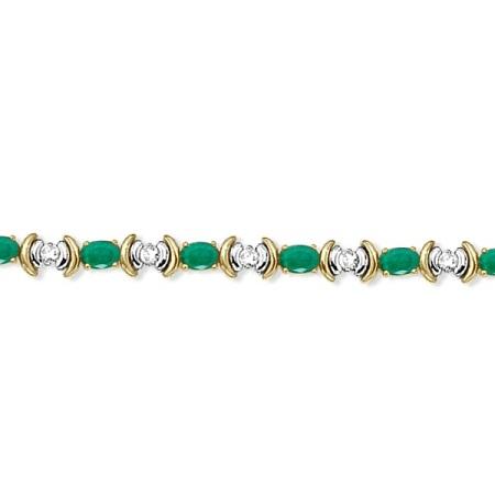 Emerald & Diamond Link Tennis Bracelet in 14k Yellow Gold (8.20ct)