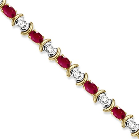 Ruby & Diamond Link Tennis Bracelet in 14k Yellow Gold (8.20ct)