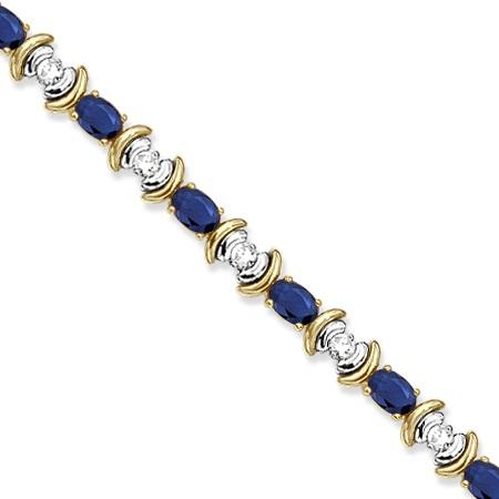 Blue Sapphire & Diamond Link Tennis Bracelet 14k Yellow Gold (8.20ct)
