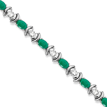 Emerald & Diamond Link Tennis Bracelet in 14k White Gold (8.20ct)