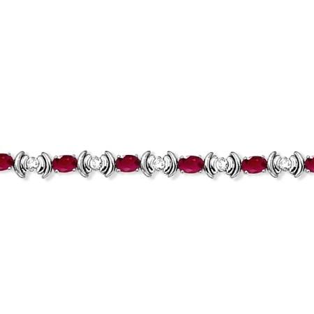 Ruby & Diamond Link Tennis Bracelet in 14k White Gold (8.20ct)