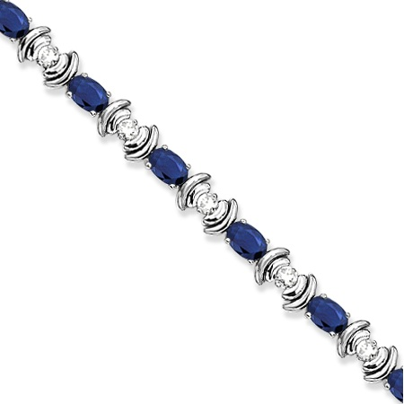 Blue Sapphire & Diamond Link Tennis Bracelet 14k White Gold (8.20ct)