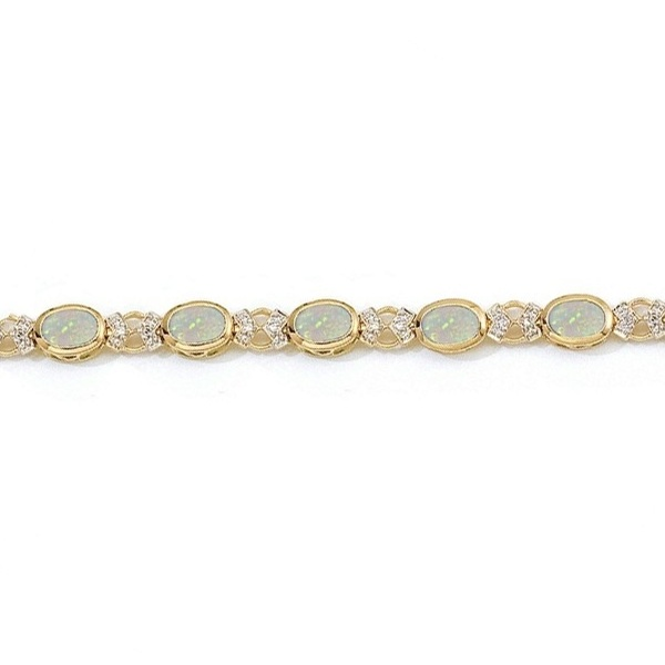 Oval Opal and Diamond Bezel-Set Bracelet in 14K Yellow Gold