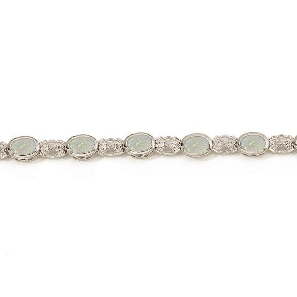 Oval Opal and Diamond Bezel-Set Bracelet in 14K White Gold