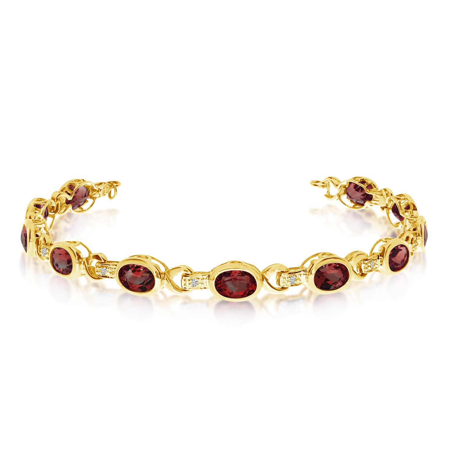 Oval Garnet & Diamond Link Bracelet 14k Yellow Gold (9.62ctw)