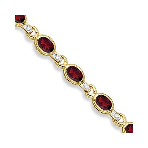 Oval Garnet & Diamond Link Bracelet 14k Yellow Gold (9.62ctw)
