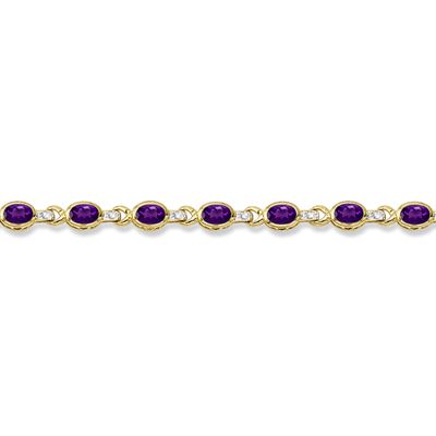 Oval Amethyst & Diamond Link Bracelet 14k Yellow Gold (9.62ctw)