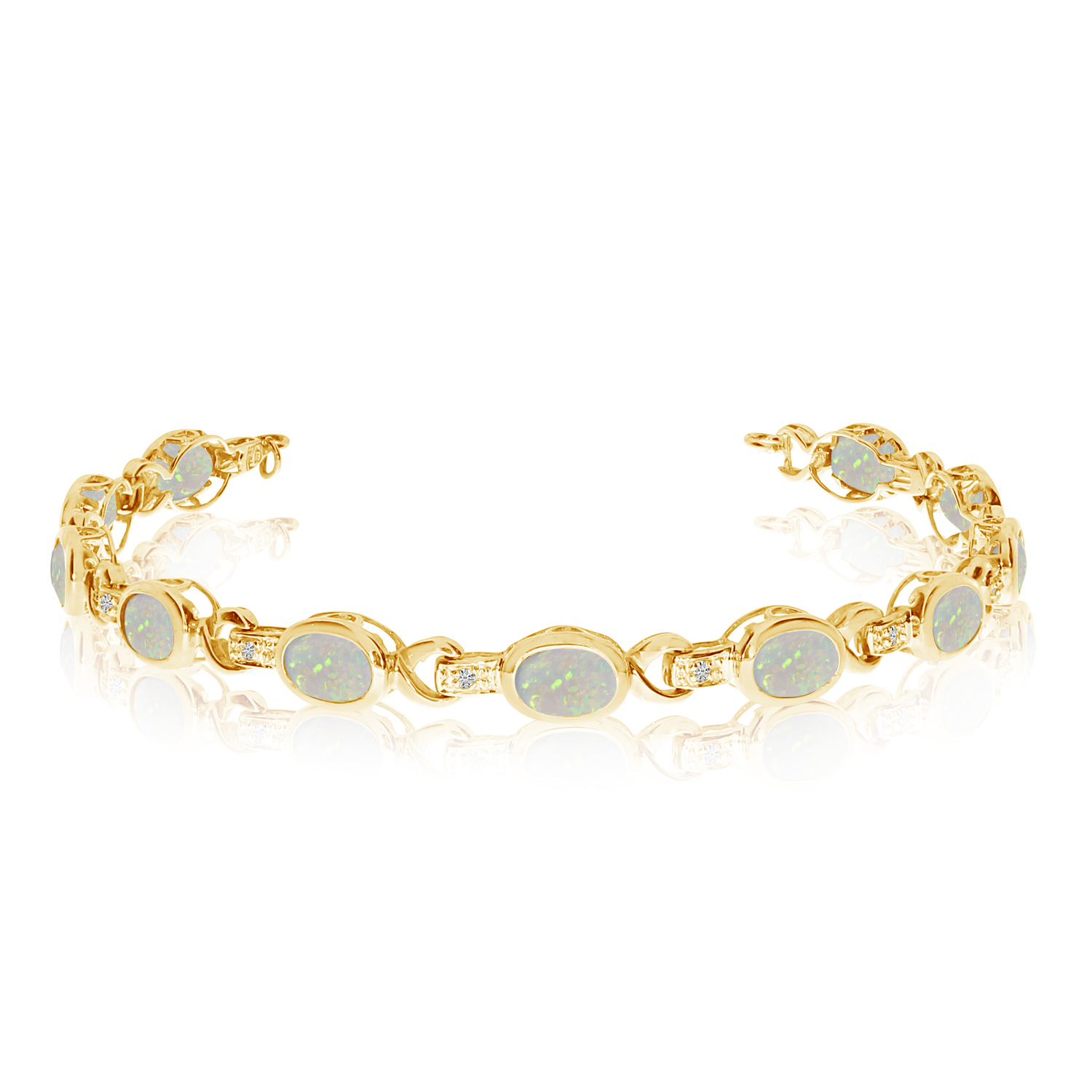 Oval Opal & Diamond Link Bracelet 14k Yellow Gold (9.62ctw)
