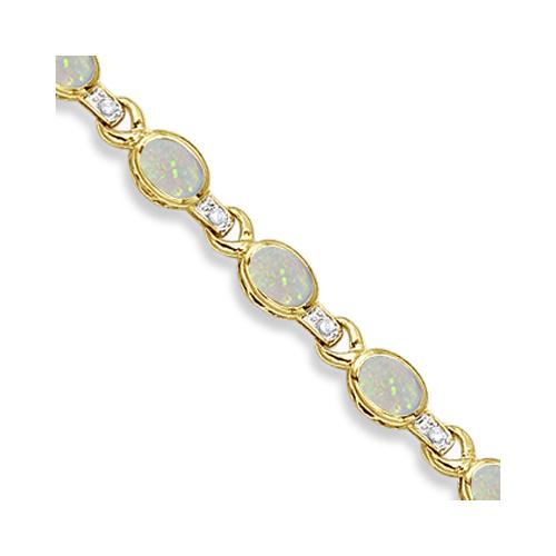 Oval Opal & Diamond Link Bracelet 14k Yellow Gold (9.62ctw)