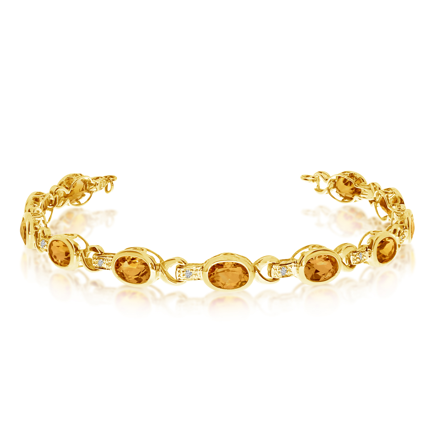 Oval Citrine & Diamond Link Bracelet 14k Yellow Gold (9.62ctw)