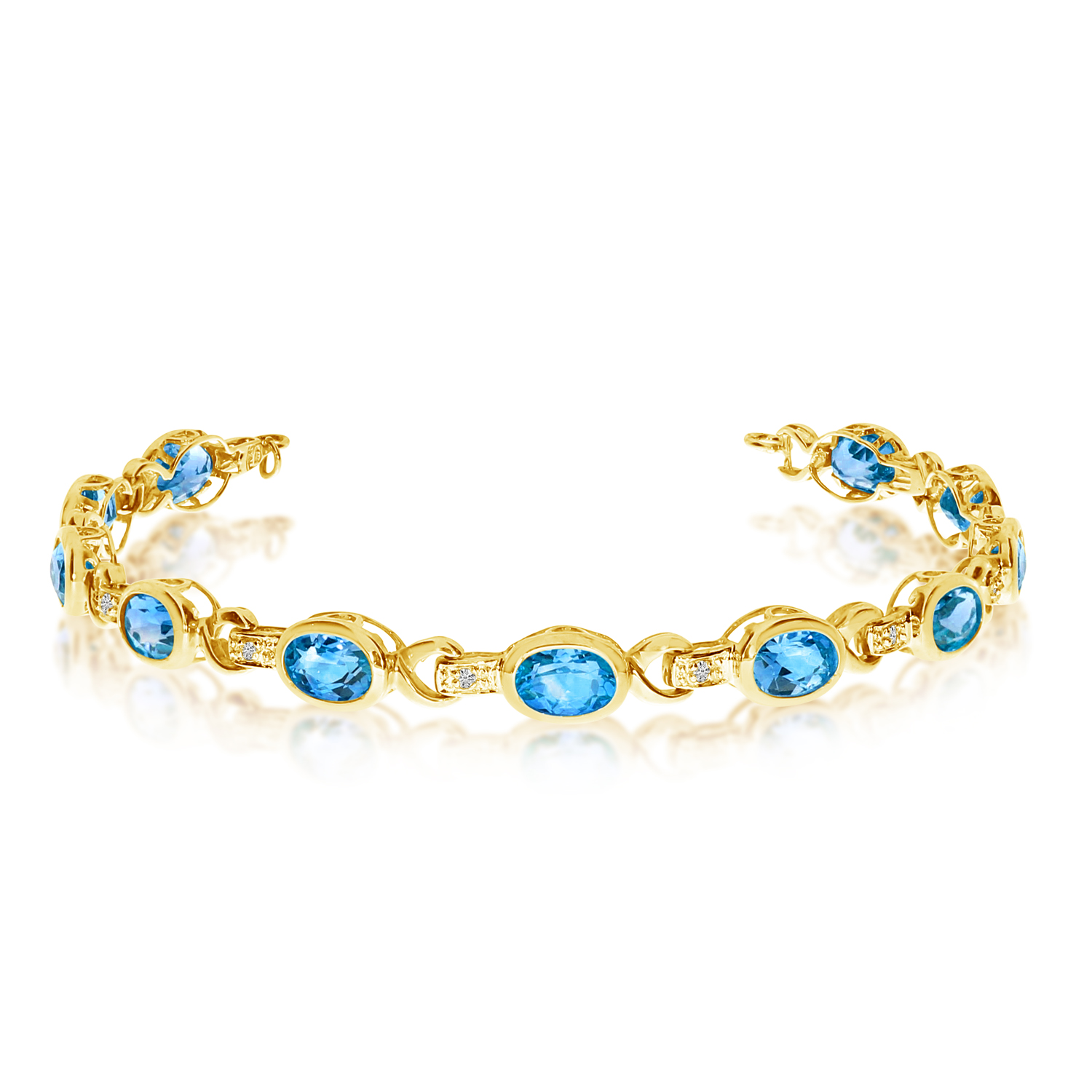 Oval Blue Topaz & Diamond Link Bracelet 14k Yellow Gold (9.62ctw)