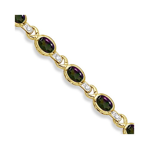 Oval Mystic Topaz & Diamond Link Bracelet 14k Yellow Gold (9.62ctw)