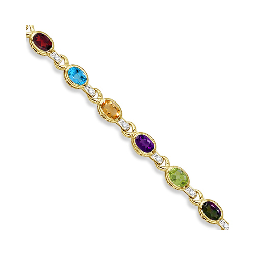 Diamond & Multicolor Gemstone Bracelet 14k Yellow Gold (9.62ctw)