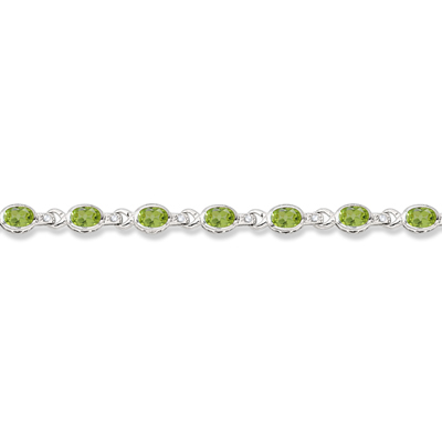 Oval Peridot & Diamond Link Bracelet 14k White Gold (9.62ctw)